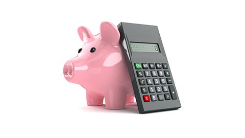 porquinho e calculadora